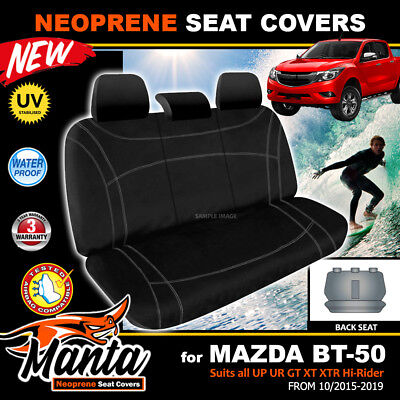 Manta Neoprene REAR Black Seat Covers Mazda BT-50 UR GT XTR XT 10/2015-19 BT50