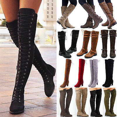 Women Ladies Over The Knee High Riding Boots Lace Up Zip Low Heel Flat Shoe Size