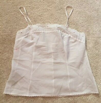 M&S St Michael Vintage White Embroidered Camisole Bra Top Bralette Size 12