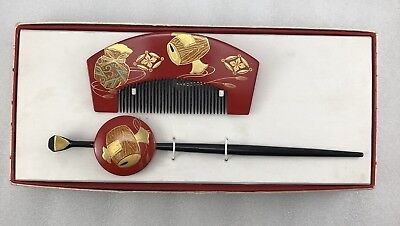 M17 Japanese Red Wood Kimono Lacquer Comb & Hair pin Geisha Lucky Hammer Makie
