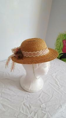 """Vintage Straw Easter Girl's Wide Brim Floral Hat, Church, Chin Strap, 18""""head,"""