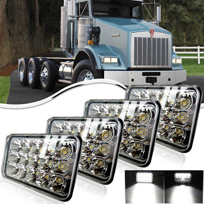 "4pcs 4x6"" LED Headlights for Kenworth T800 T400 T600 W900B W900L Classic 120/132"