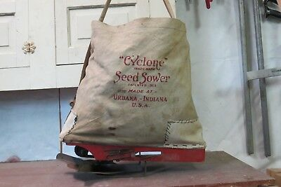 Cyclone Seed Sower Hand Crank Seed Spreader Canvas Wood Metal Urbana Indiana