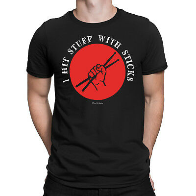 Mens I HIT STUFF WITH STICKS Drum Music T-Shirts Drummer Drumming Instrument