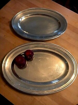 Christofle Silverplate Pair Of Graduated Oval Platters