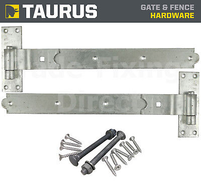 Heavy Duty Cranked Hook & Band Gate Hinges Hot Dipped Galvanised + Fixings