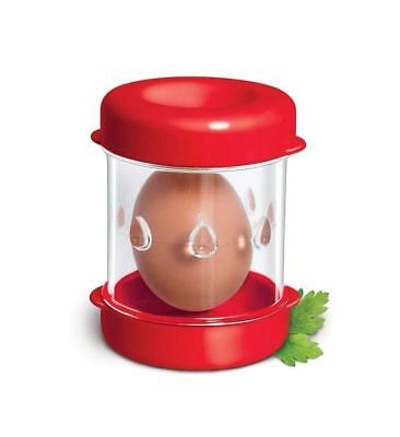 Compact Sturdy Boiled Egg Peeler Durable Container With Cap Kitchen Gadget Red