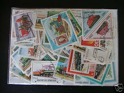 Stamps Trains : 100 Stamps All Different / Trains Stamps