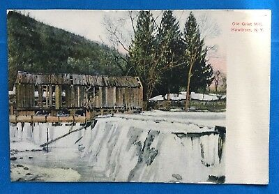 Vintage NY Postcard HAWTHORN OLD GRIST MILL, 1912 POST