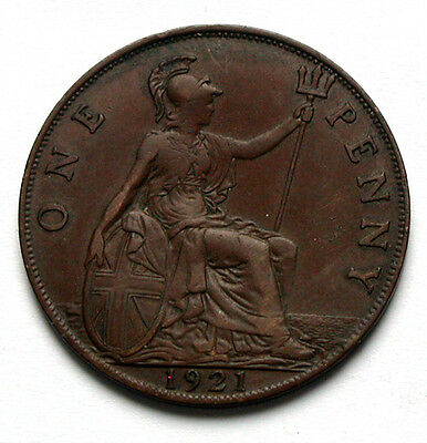 1921 UK (Great Britain) George V Coin - One Penny (1d) -