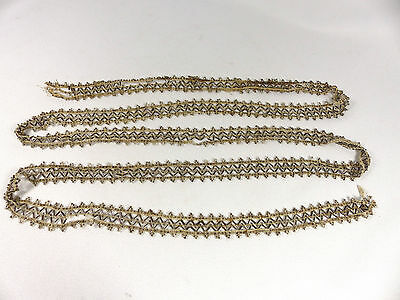 Trim Antique Silver & Clear Beads Vintage Condition 2 Yds 1930s Rare DIY