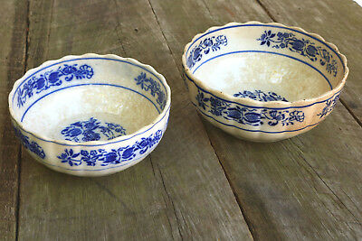 "Pair Antique Blue & White Old 9"" + 10"" LARGE Bowls Plant Pot Crackling Decor"