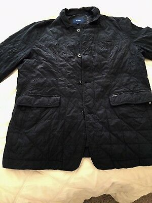 Faconnable Men's Diamond Quilted Lightweight Jacket Darkest Navy Large.