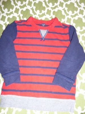 Baby Gap Boys 5T Navy Blue Red Stripe Solid Crewneck Sweatshirt Pullover