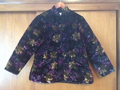 Vintage Women's Purple Velvet Floral Plush Jacket Best Quality Large