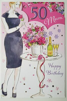 50th Birthday Card for Mum With Lovely Verse