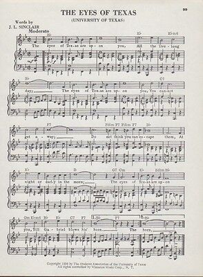 "Vintage UNIVERSITY OF TEXAS college song sheet ""THE EYES OF TEXAS"" 1938 music"