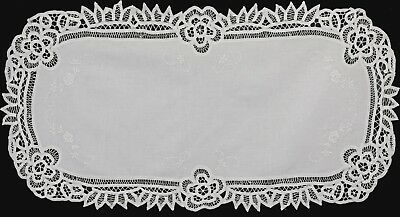 "Battenburg Lace Table Runner 16x34"" Oval White Cotton Handmade Dresser Scarf"