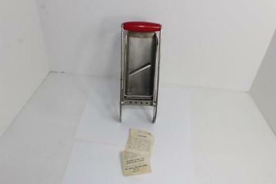 Vintage Kitchen Metal French Fry Cutter with Red Wooden Handle