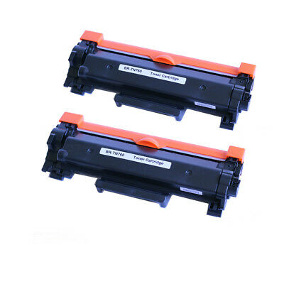 2 Packs TN760 Toner with chip For Brother DCP-L2550DW HL-L2350DW HL-L2370DW