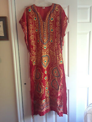 Gorgeous Red Embroidered Ghawazee-style Dress, Yellow & Teal Embroidery Size 8