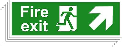 Fire Exit Safety Signs - Running Man Arrow Up Right (Various Sizes Available)