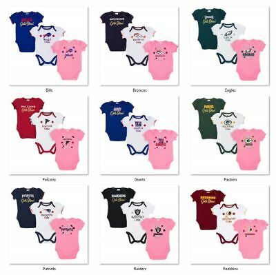 NFL 3 pk Girls Bodysuit Set by Gerber Childrenswear Select Size THEN Team Below