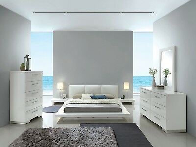 CONTEMPORARY WHITE PADDED Headboard 4pc Bedroom Furniture ...