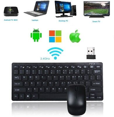 Mini Keyboard And Mouse Combo Wireless Ultra Slim All in One  2.4Ghz