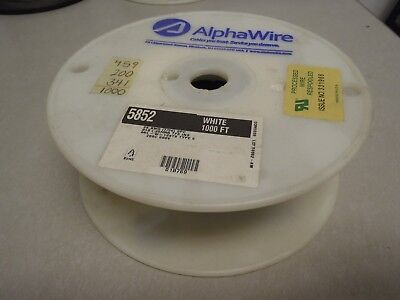 Alpha 5852 White 28ga 28awg Stranded TFE Teflon Wire 1000' Hook Up Wire L8