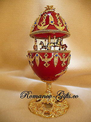 """Russian Musical Carousel Egg NUTCRACKER """"Waltz of the Flowers &matching Necklace"""