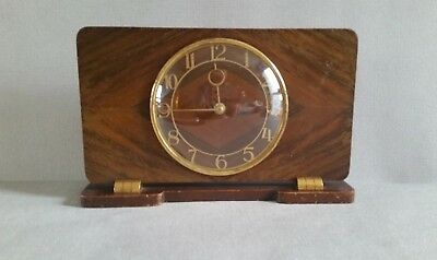 Art Deco Smiths 8 Day Walnut Winding Clock (made in England 1930s working)