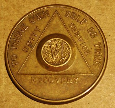 Alcoholics Anonymous 6 VI Year AA BACK Medallion Chip Coin Serenity Token VTG