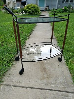 Vintage Mid Century Modern Two Tier Wood Accented Metal Serving Cart Table