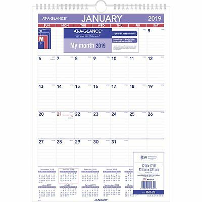 "AT-A-Glance PM228-18 Monthly Wall Calendar, Jan 2019 - Dec 2019, 12"" x 17"""