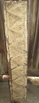 """Antique CORNICE Tin 8.5 W X 48"""" H  Architectural Salvage Chippy tan brown Paint"""