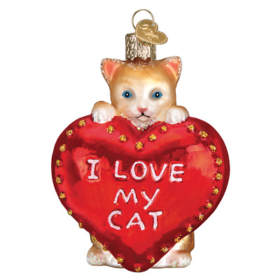 """I Love My Cat Heart"" (30051)X Old World Christmas Glass Ornament w/OWC Box"