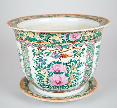 Vintage Chinese Famille Rose Porcelain Jardiniere Planter & Underplate Signed