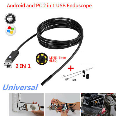 5M 6LED 7mm Android PC Endoscope Waterproof IP67 Borescope USB Inspection Camera