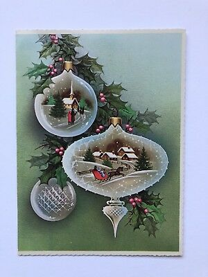 NOS Vintage Christmas Greeting Card Mid Century Ornament People Sleigh House