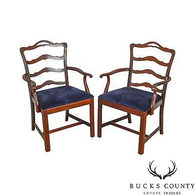 Chippendale Style Vintage Solid Mahogany Pair of Ladderback Arm Chairs