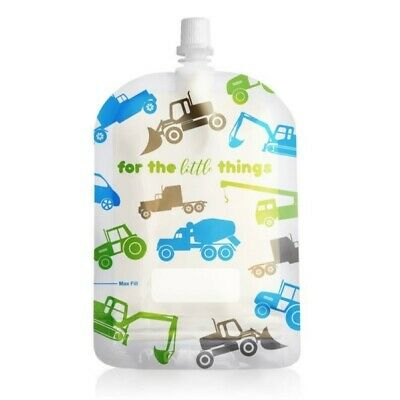 Sinchies Baby Food Reusable Squeeze Pouches Refillable 1/5/10 Pack Trucks