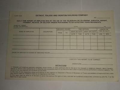 Vintage Detroit Toledo & Ironton Railroad Railway Train DT&I Time Report