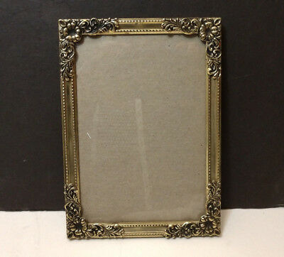 Vintage Ornate Metal Photo Picture Frame 5x7 Easel Gold Color With