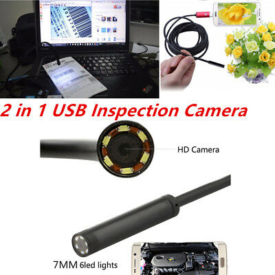 Mini USB 5M Cable 6LED 7mm Lens Borescope Camera Waterproof Endoscope Android PC