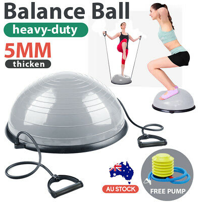 Fitness Balance Ball Trainer Half Bosu Yoga Workout Gym Exercise Pilate Grey