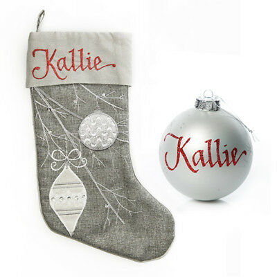 Silver Bauble Stocking and Bauble Pack