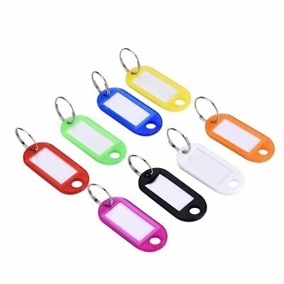 20x Coloured Plastic Key Tags Assorted Key Ring Luggage  ID Name Label Fob Rings