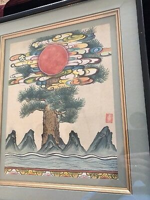 Vintage Arts & Crafts Japanese Woodblock Print Framed/Signed ( Lot 2 )