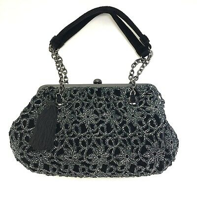 ADRIANNA PAPELL Sparkle Lace Black Velvet Evening Formal Purse With Tassel